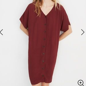 Madewell Button-Front Easy Dress in Burgundy